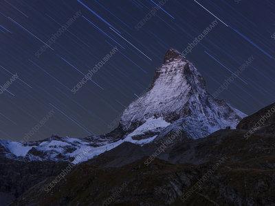 Matterhorn at night, with star trail, Switzerland