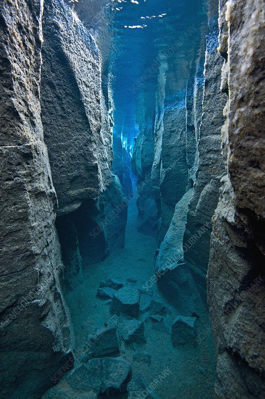 View through narrow Nes Canyon, near Husavik, Iceland