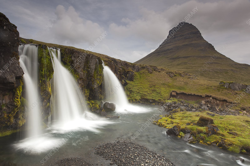Waterfalls in front of Mount Kirkufjell, Iceland