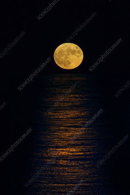 Full moon rising over the north sea, Norfolk, UK