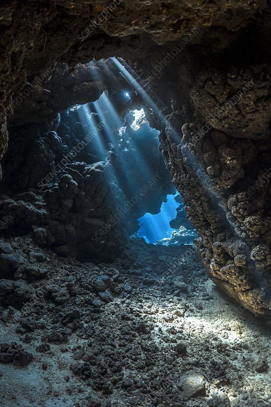 Shafts of light shine through darkness of cavern