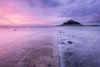 St Michael's Mount and old causeway at sunrise, Cornwall, UK