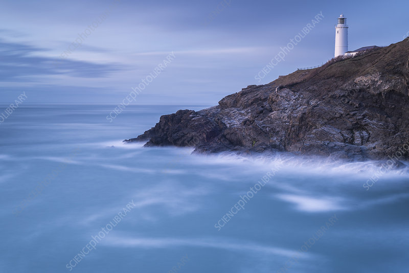 Trevose head, lighthouse in late evening light, Cornwall, UK