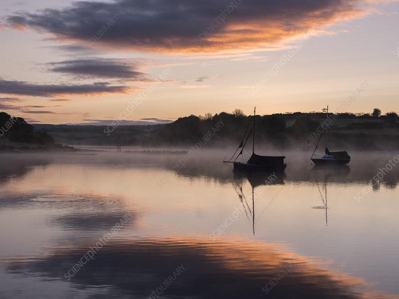 Wimbleball Lake and boats, Somerset, UK