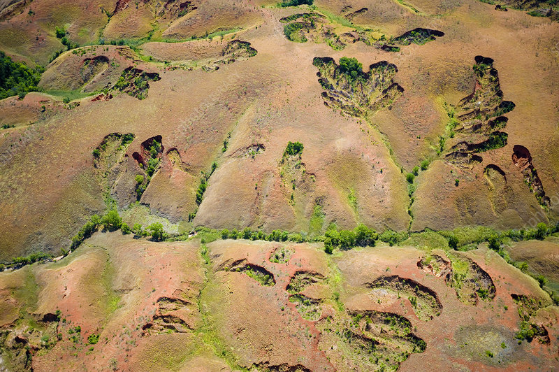 Aerial view of soil erosion due to deforestation, Madagascar
