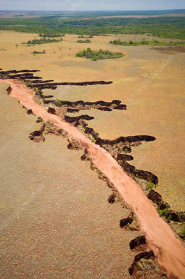 Aerial view of river showing eroded banks, Madagascar