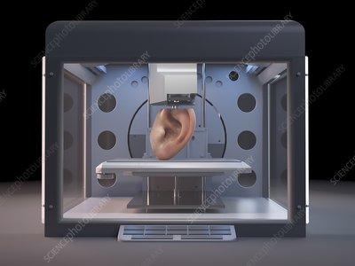 Illustration of a 3d printer printing an ear