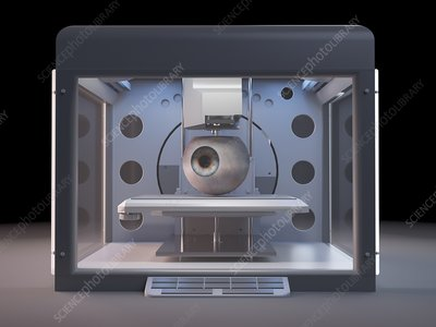 Illustration of a 3d printer printing an eye