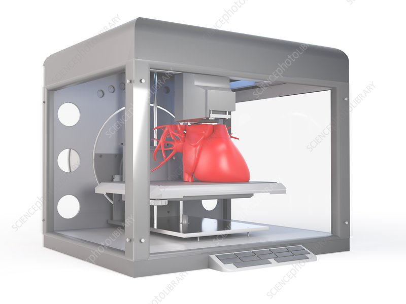 Illustration of a 3d printer printing a heart
