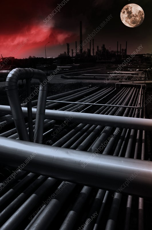 Oil and gas refinery, composite image