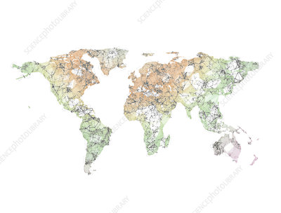 Abstract polygon 3d render world map, illustration