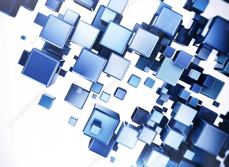 Blue metallic cubes, illustration