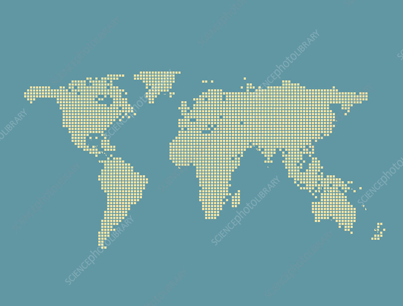 Pixel world map, illustration