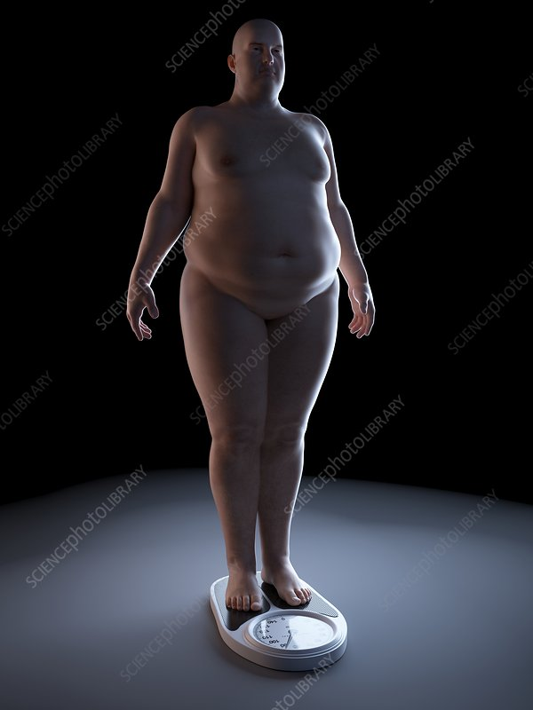 Illustration of an obese man on a scale