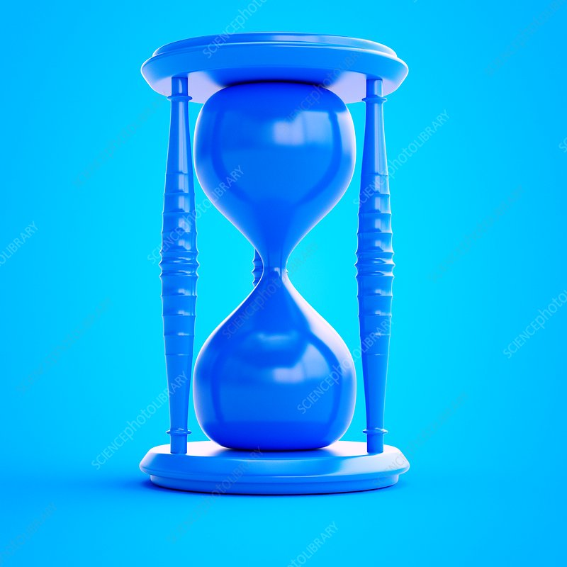 Illustration of a blue hourglass