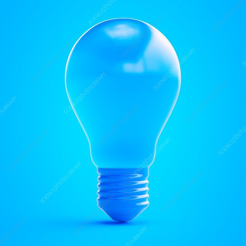 Illustration of a blue light bulb