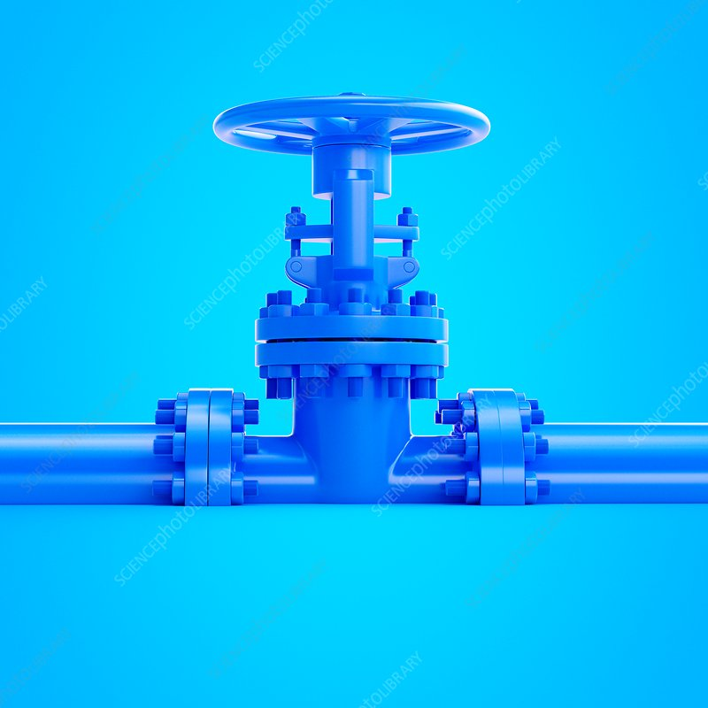 Illustration of a blue valve