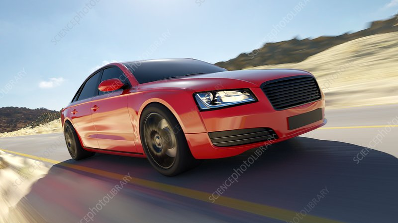Illustration of a fast red car on the road