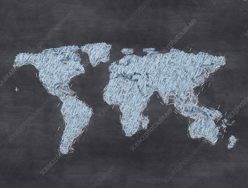 Chalkboard world map, illustration