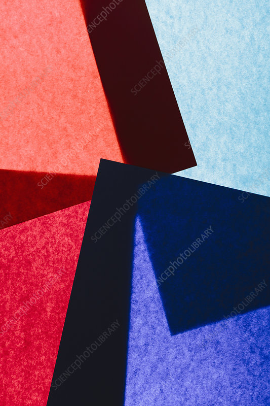 Overlapping pieces of multicoloured construction paper
