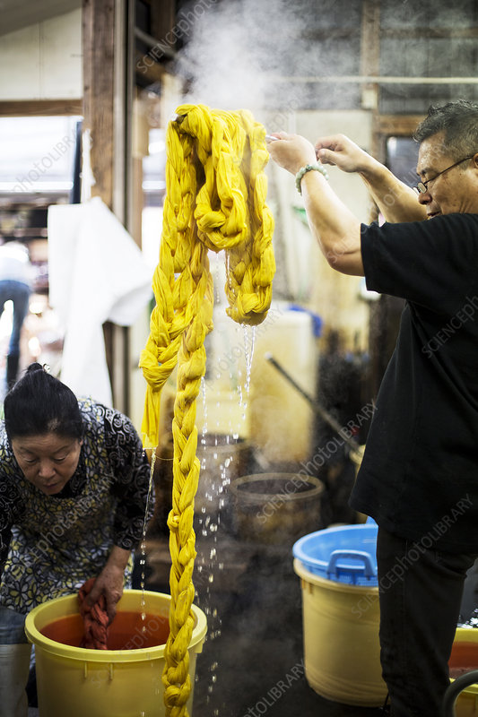 Japanese man standing in a textile plant dye workshop
