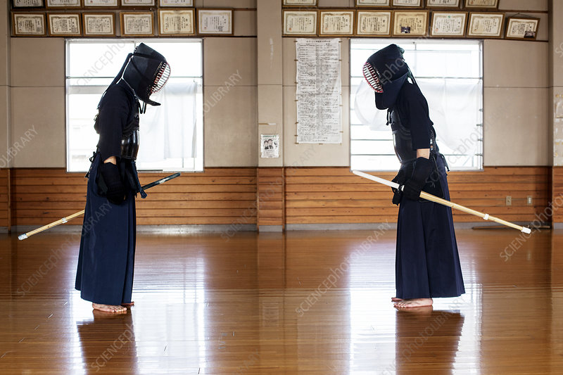 Japanese Kendo fighters standing bowing and greeting