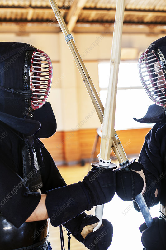 Two Kendo fighters wearing Kendo masks holding swords