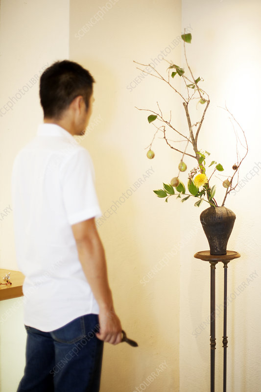 Japanese man with an Ikebana arrangement