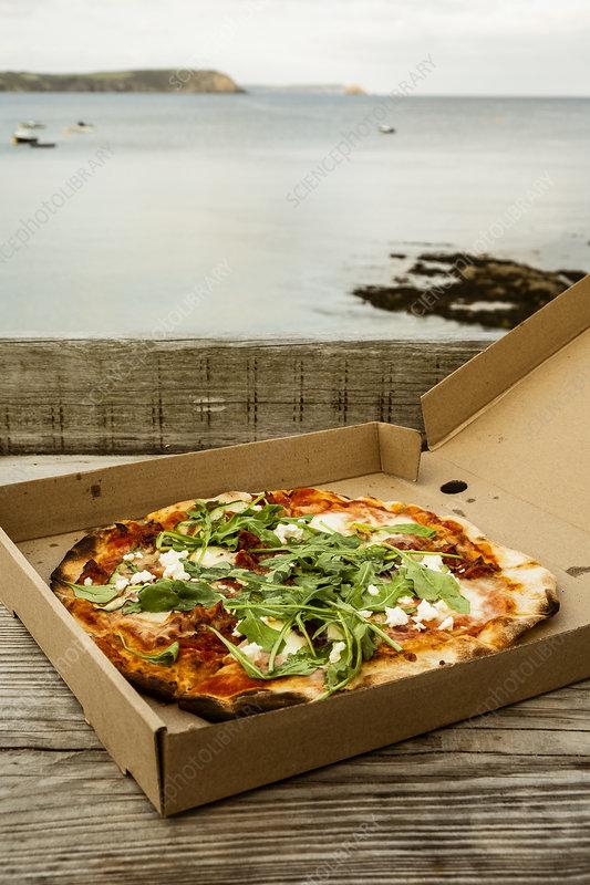 A takeaway pizza in a brown box