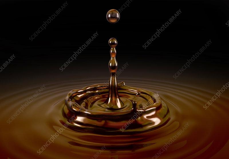 Single liquid coffee drop splash, illustration