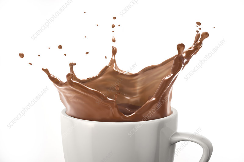 Cup with milk chocolate splash, illustration