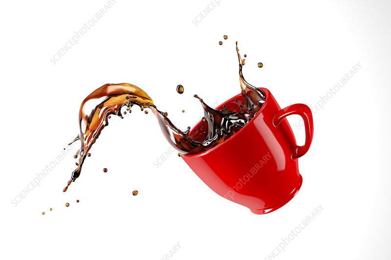 Mug with coffee splash, illustration