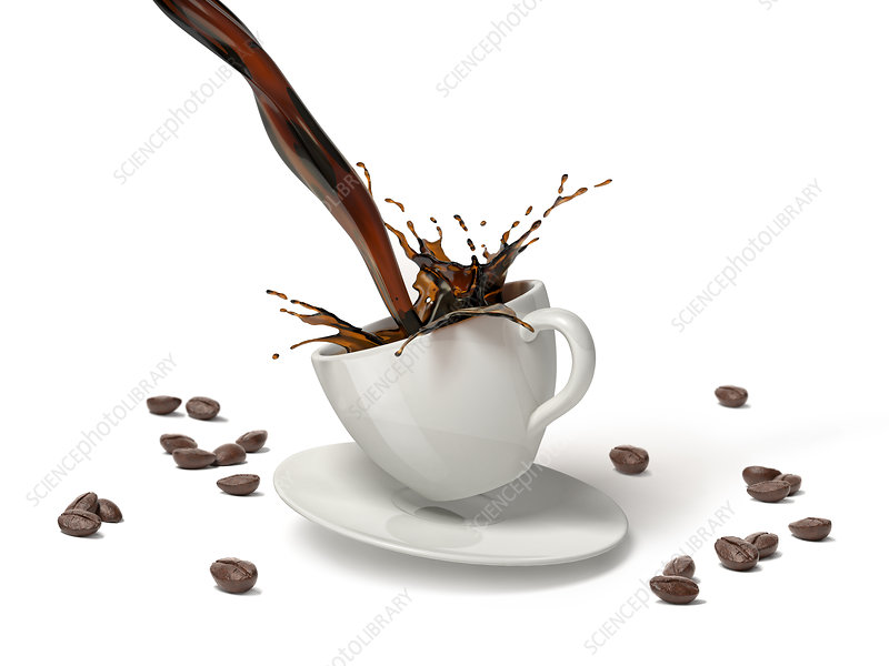 Coffee pouring into a cup on saucer, illustration