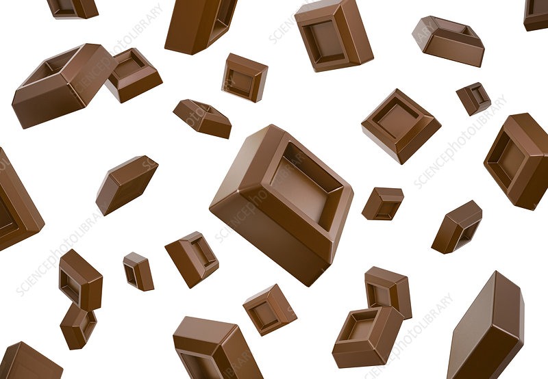 Many chocolate cubes falling down, illustration
