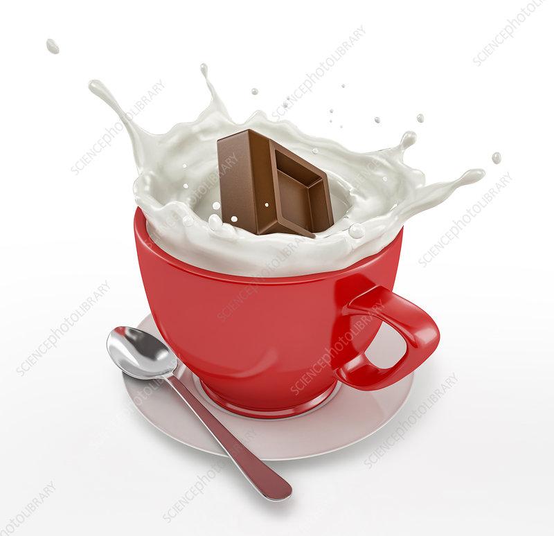 Chocolate cube splashing into mug of milk, illustration