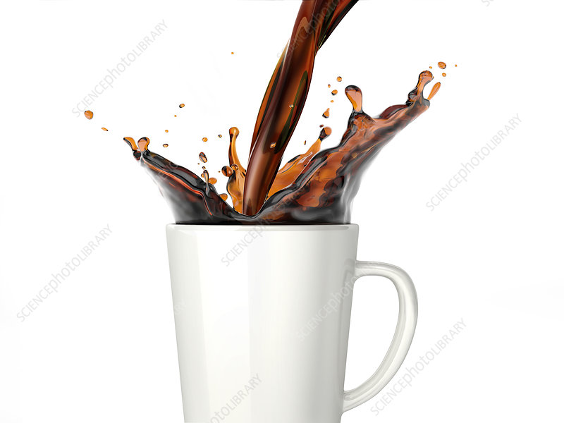 Pouring coffee into a mug, illustration