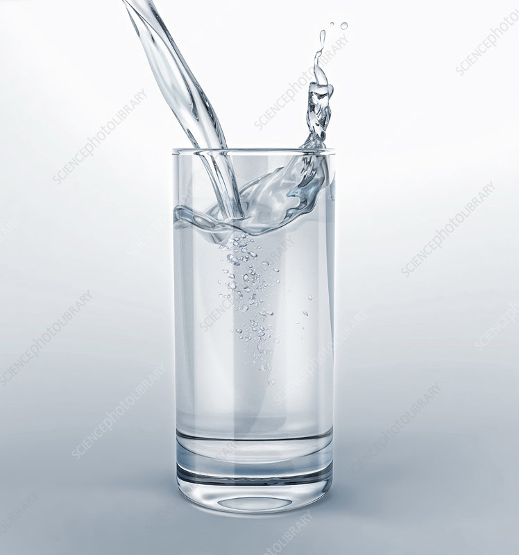 Pouring water into a glass, illustration