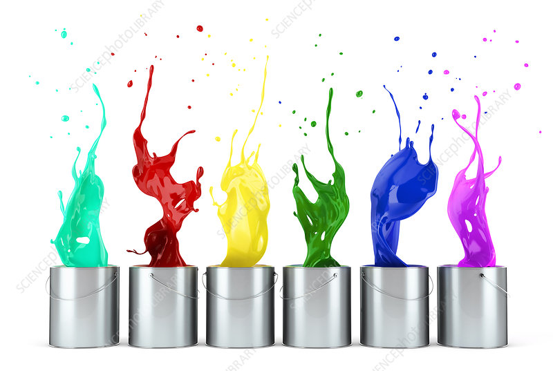 Multicolour paints splashing out of tins, illustration