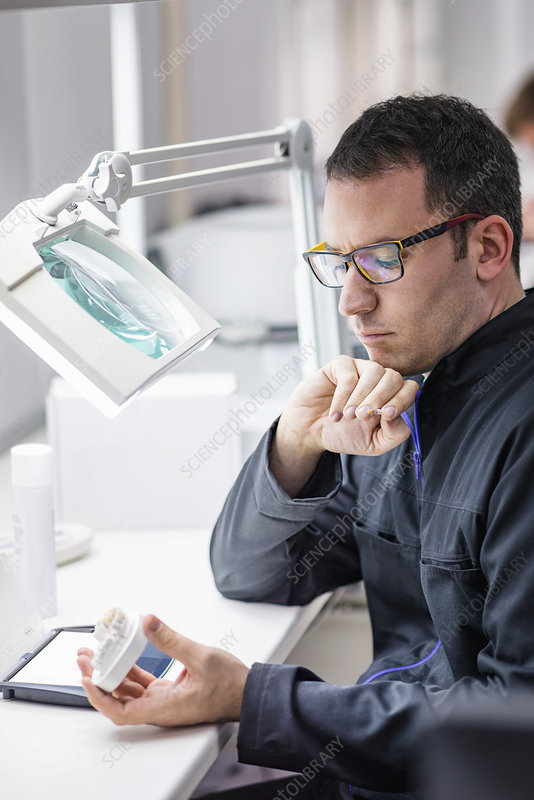 Prosthetic dentistry technician at work