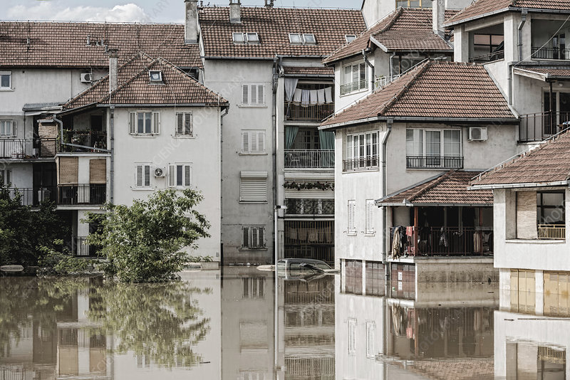 Flooded town - Stock Image - F024/4741 - Science Photo Library