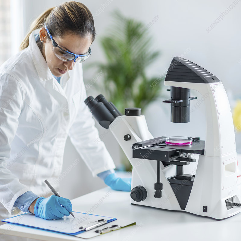 Scientist taking notes