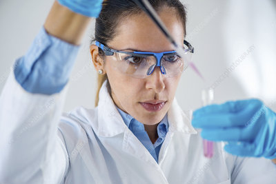 Scientist pipetting sample