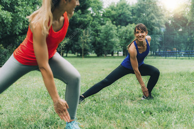 Women exercising outdoors