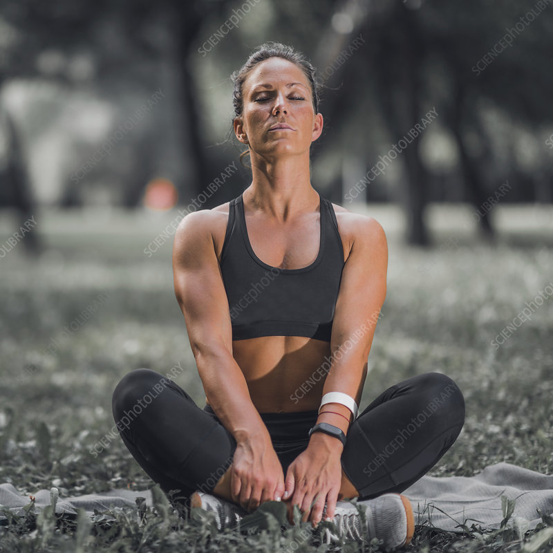 Woman relaxing after exercise