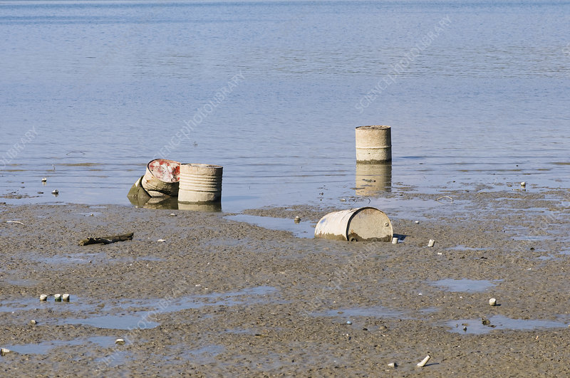 Discarded oil drums