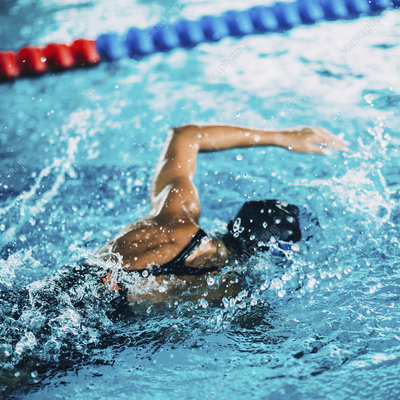 Swimmer during race