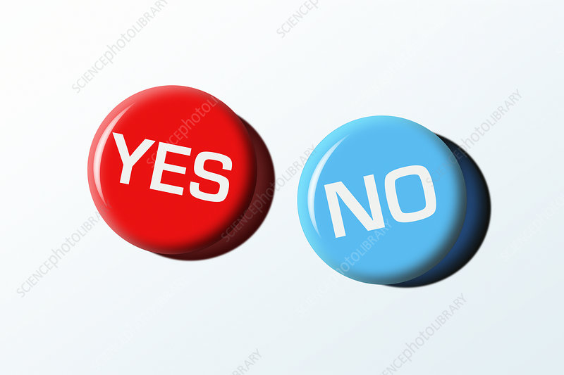 Yes and No badges, illustration