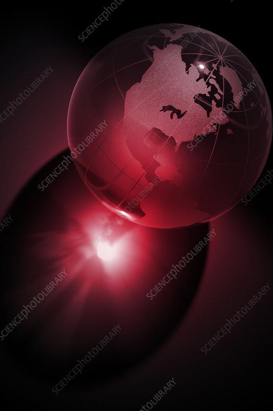 Transparent Earth globe, illustration