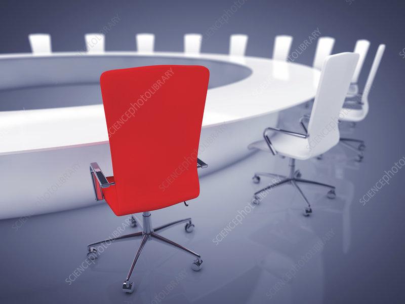 Boardroom interior, illustration