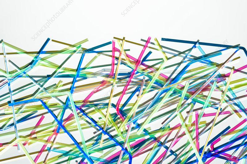 Abstract still life of plastic drinking straws